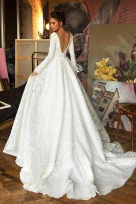 Elegant Lace Bridal A-line V-Neck Long Sleeves Wedding Dresses_2