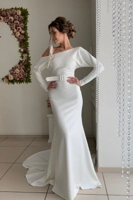 Long Sleeve Sash Belt Cheap Wedding Dresses | Sexy Backless Sheath Bridal Gowns Online