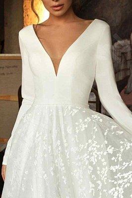 Elegant Lace Bridal A-line V-Neck Long Sleeves Wedding Dresses_3
