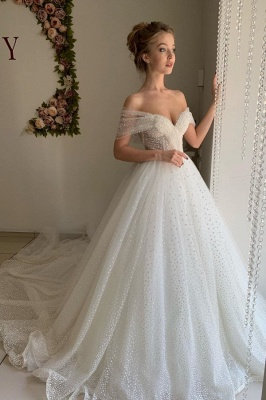 Sweetheart Pearl Off The Shoulder Ball Gown Wedding Dresses | Backless Tulle Cheap Bridal Gowns