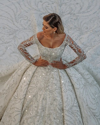 Gorgeous Shiny Sequins Crystal Ball Gown Wedding Dresses | Beads Long Sleeve Off The Shoulder Bridal Gowns_3