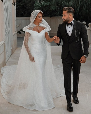 Off The Shoulder Sparkling Sequins Wedding Dresses | Mermaid Floor Length Bridal Gowns With Shawl_7