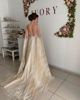 Champagne Straps V-neck Wedding Dresses   Sexy Backless Shawl A-line Bridal Gowns_2