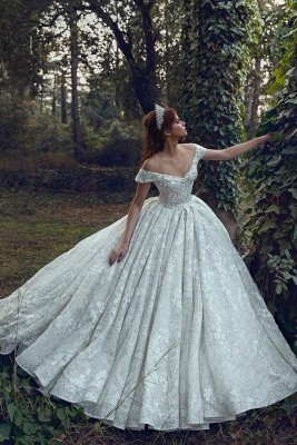 Off The Shoulder Sequins Appliques Ball Gown Wedding Dresses | Sexy Backless Lace Bridal Gowns