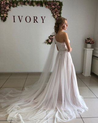 One Shoulder Appliques A-line Wedding Dresses | Sexy Backless Tulle Bridal Gowns_2