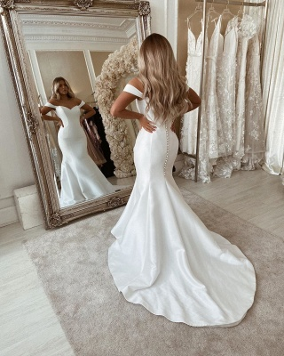 Off The Shoulder Mermaid Wedding Dresses | Sleeveless Sexy Bridal Gowns Online_2
