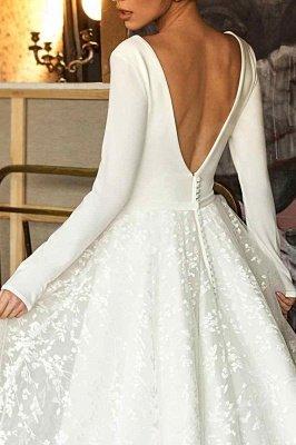 Elegant Lace Bridal A-line V-Neck Long Sleeves Wedding Dresses_4