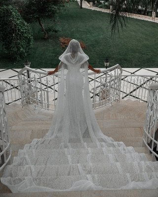 Off The Shoulder Sparkling Sequins Wedding Dresses | Mermaid Floor Length Bridal Gowns With Shawl_2