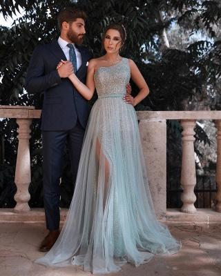 One Shoulder Shiny Sequins Belt Prom Dresses | Side Split Tulle Floor Length Evening Gowns_2