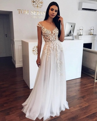 Appliques Sheer Tulle A-line Wedding Dresses | Sleeveless Cheap Floor Length Bridal Gowns_2