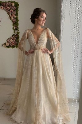 Champagne Straps V-neck Wedding Dresses   Sexy Backless Shawl A-line Bridal Gowns_1
