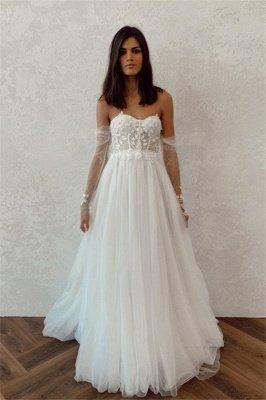 Bretelles A-ligne Appliques Robes De Mariée Pas Cher | Robes de mariée dos nu à manches longues en tulle_1