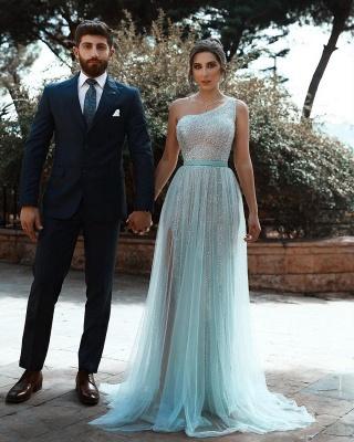 One Shoulder Shiny Sequins Belt Prom Dresses | Side Split Tulle Floor Length Evening Gowns_3