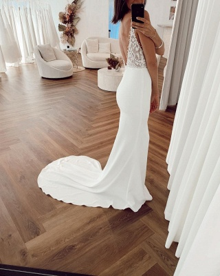 Spaghetti Straps Appliques V-neck Wedding Dresses | Sexy Sheath Backless Cheap Bridal Gowns_2