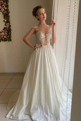 Sheer Tulle Appliques Sweetheart Wedding Dresses | A-line Sleeveless Cheap Bridal Gowns