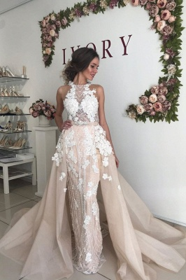 Flower Appliques Beading Halter Sheath Wedding Dresses | Backless Belt Bridal Gowns with Detachable Skirt