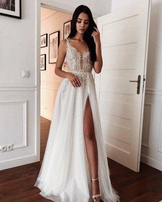 Spaghetti Straps Shiny Appliques Cheap Wedding Dresses | A-line Front Slit V-neck Bridal Gowns Online_2
