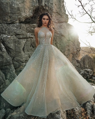 Halter Sparkling Beads Crystal Prom Dresses | Luxury Sleeveless Sheer Tulle Evening Gowns_3
