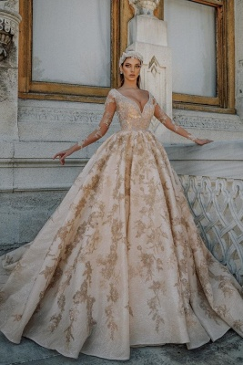 Glamorous V-neck Gold Appliques Ball Gown Wedding Dresses | Beads Sheer Tulle Long Sleeve Bridal Gowns