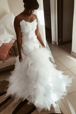 Flowers Appliques Mermaid sleeveless Wedding Dresses | Sheer Tulle Ruffles Bridal Gowns_1