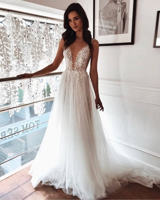 Straps Appliques Sleeveless Beach Wedding Dresses | Sexy V-neck Summer A-line Bridal Gowns_2
