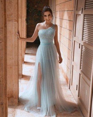 One Shoulder Shiny Sequins Belt Prom Dresses | Side Split Tulle Floor Length Evening Gowns_4