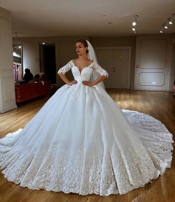 Glamorous Lace V-neck Ball Gown Wedding Dresses | Appliques Sleeves Bridal Gowns with Sweep Train_1