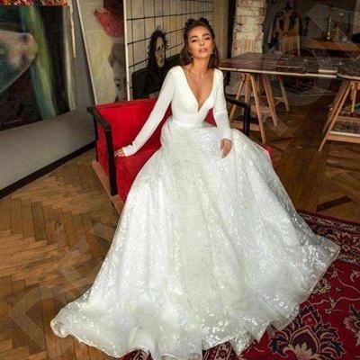 Elegant Lace Bridal A-line V-Neck Long Sleeves Wedding Dresses_6