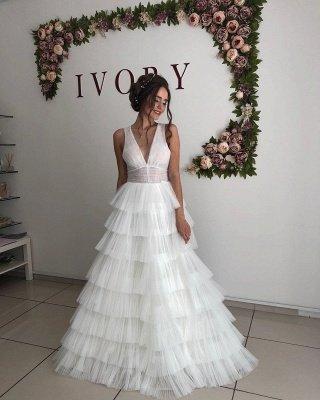 Straps V-neck Cheap A-line Wedding Dresses | Tulle Ruffles Floor Length Bridal Gowns Online_3