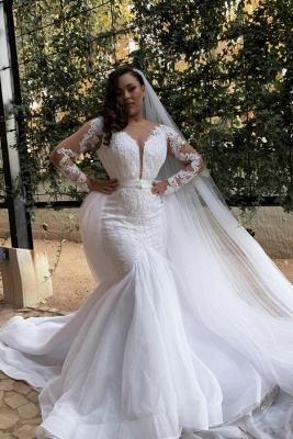 Mermaid Appliques Long Sleeve Wedding Dresses | Sheer Tulle Plus Size Bridal Gowns_1