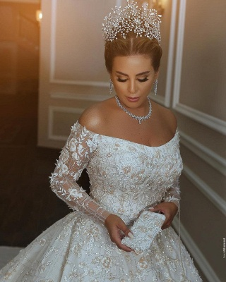 Off The Shoulder Shiny Appliques Ball Gown Wedding Dresses | Lace Long Sleeves Bridal Gowns_3