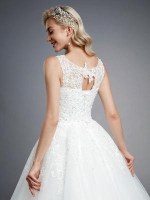 Robes de mariée élégantes sans manches col rond blanc Aline robe de mariée en dentelle florale_8