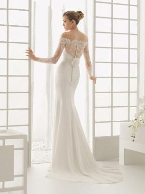Elegantes Off Shoulder Spitze Meerjungfrau Brautkleid mit langen Ärmeln Schlankes Brautkleid_3