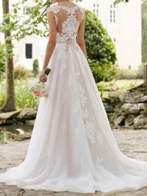 Vestidos de novia con mangas casquillo Aline con cinturón Vestido de novia de jardín_3