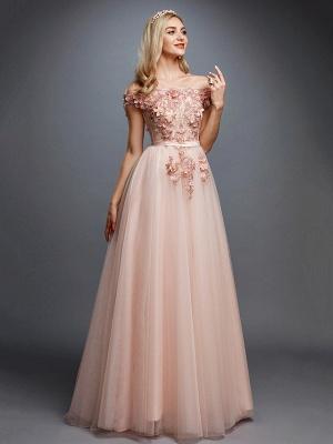 Off Shoulder 3D Floral  Tulle Aline Evening Dress Off Shoulder Party Dress_1