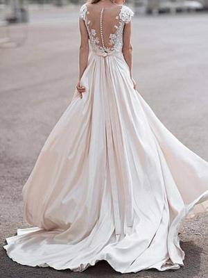 Elegante Flügelärmel mit tiefem V-Ausschnitt ALine Satin Hochzeitskleid_2