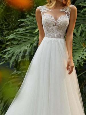Sleeveless Wedding Dress Floral Lace Aline Tulle Bridal Dress_3