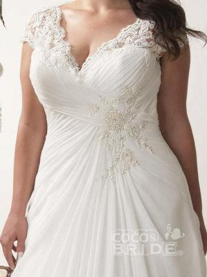 Plus Size Cap Sleeves Chiffon Lace Appliques Garden Aline Wedding Dress_3