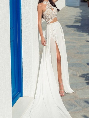 Halter Hollow Lace Side Slut Beach Wedding Dress_2