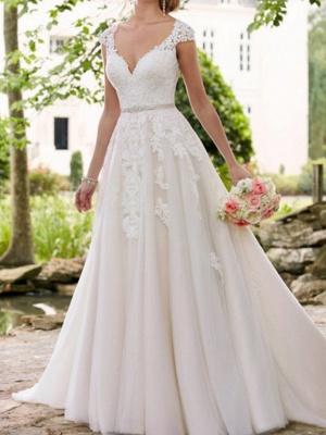 Vestidos de novia con mangas casquillo Aline con cinturón Vestido de novia de jardín_1