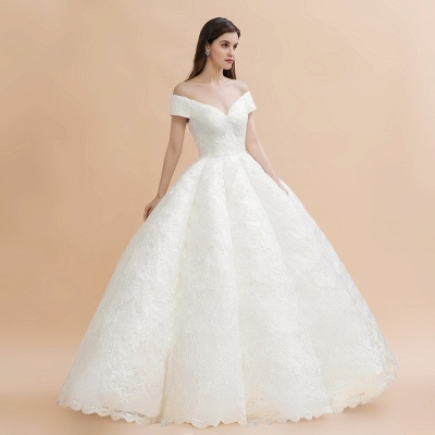 Ivory Off Shoulder Lace Appliques A-line Ball Gown Tulle Wedding Dress_4