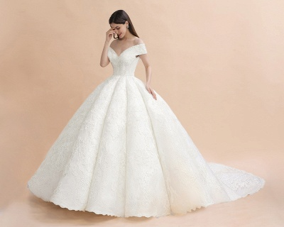 Charming Off-the-Shoulder Appliques Ball Gown Backless Sweep Train_3