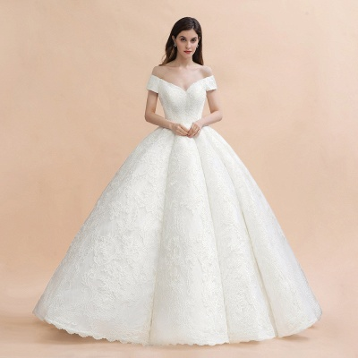Charming Off-the-Shoulder Appliques Ball Gown Backless Sweep Train_1