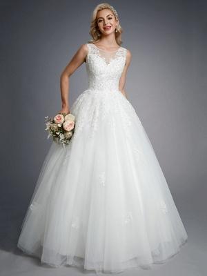 Robes de mariée élégantes sans manches col rond blanc Aline robe de mariée en dentelle florale_4