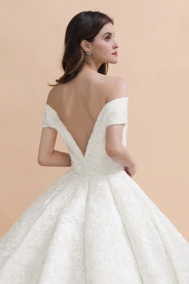 Charming Off-the-Shoulder Appliques Ball Gown Backless Sweep Train_8