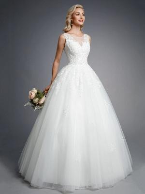 Robes de mariée élégantes sans manches col rond blanc Aline robe de mariée en dentelle florale_3