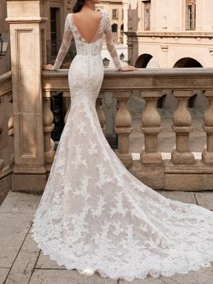 Charmantes Meerjungfrau Brautkleid mit langen Ärmeln Blumenspitze Brautkleid_2