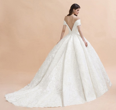 Charming Off-the-Shoulder Appliques Ball Gown Backless Sweep Train_6