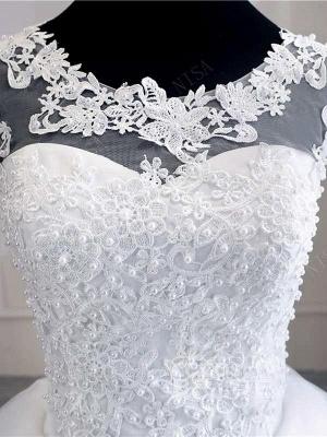 Flügelärmeln weiße Tüll-Spitze Applikationen Brautkleid Aline bodenlangen Brautkleid_4