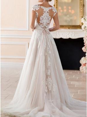 Vestidos de novia con mangas casquillo Aline con cinturón Vestido de novia de jardín_4